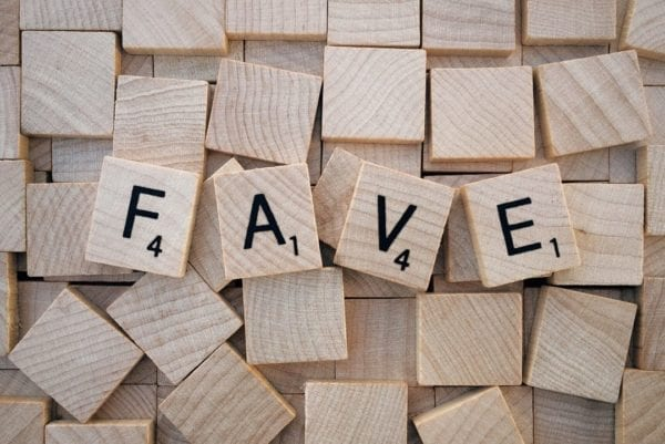 blocks of letters spelling out the word fave for a blog about social media tips for small businesses - 3 ways to create click-worthy content