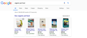 organic pet food search results
